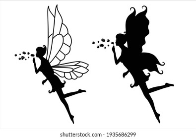 Collection of silhouettes of a fairy. Fairies blowing soap bubbles. Isolated on white. Vector Illustration.