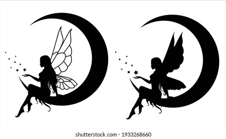 Collection of silhouettes of a fairy. Isolated on white. Vector illustration.