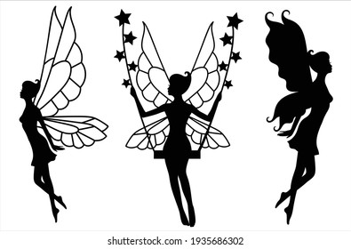 Collection of silhouettes of a fairy. Isolated on white. Fairy on swings and with stars. Vector Illustration.