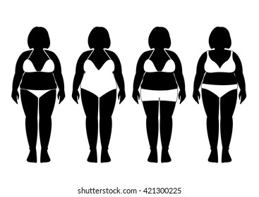 Collection of silhouettes of fat woman in bathing suits ,Vector illustrations