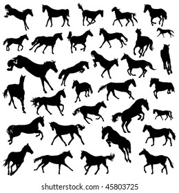 Collection of silhouettes of galloping horses. 32 horses.