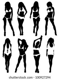 Collection of silhouettes of girls in bathing suits
