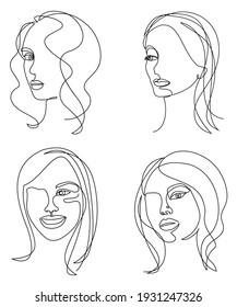 Collection. Silhouettes of the girl's head. Woman face in modern one line style. Continuous line drawing, aesthetic outline for decor, posters, stickers, logo. Vector illustration set.