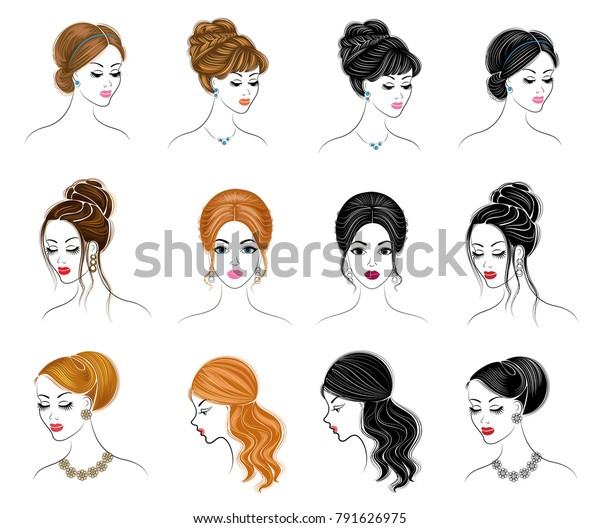 Collection Silhouettes Head Lady Girls Show Stock Vector