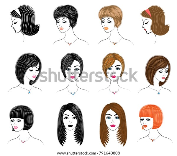 Collection Silhouettes Head Lady Girls Show Stock Image | Download Now