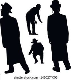 A collection of silhouettes of Jewish men. Religious Jews in traditional costume. Hasid with nurse and beard. A man in a hat and a long coat. Isolated vector illustration. Black on white.