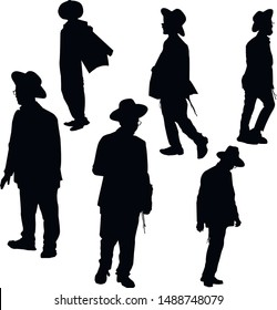 A collection of silhouettes of Jewish men. Religious Jew with his head bowed. The man in the hat. Young Jew Hasid in a hat. Isolated vector illustration Black on white.