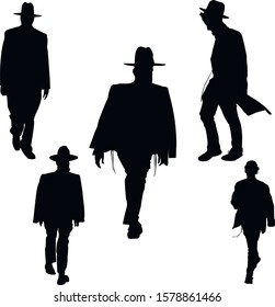 A collection of silhouettes of Jews in traditional clothes. Jew wears talit katan, tzitzit and hat. Jewish Hasid Isolated Vector Illustration Black.