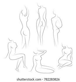 Collection. Silhouettes of lovely ladies. Beautiful girls stand and sit in different poses. The figures of women are nude, feminine and slender. Vector illustration set.