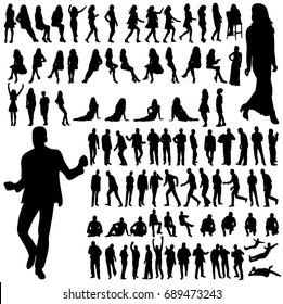 collection of silhouettes of a man and a woman