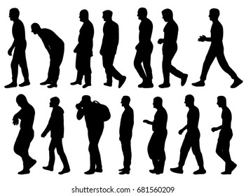 collection of silhouettes of men go sideways