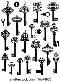 A collection of silhouettes of old keys