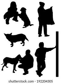 Collection of silhouettes of people and animals