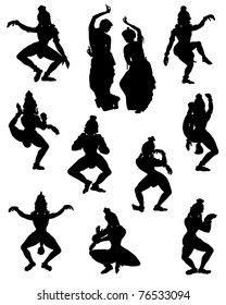A collection of silhouettes of people in Indian dance poses