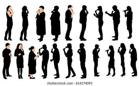 A collection of silhouettes of people singing into the microphone, vector