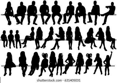 collection of silhouettes of people sitting. Men, girls, children, etc.