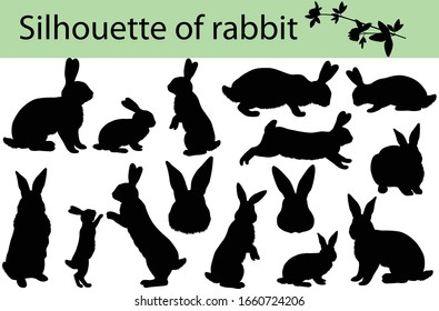Collection of silhouettes of rabbits and its cubs