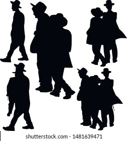 A collection of silhouettes of religious Jews gathered before prayer. Jew in a traditional costume. Hasid in a hat. Isolated vector illustration Black on white.