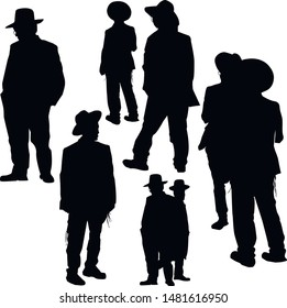 A collection of silhouettes of religious Jews in various poses. A Jew in a traditional costume looks forward. Hasid in and hat. Isolated vector illustration Black on white.