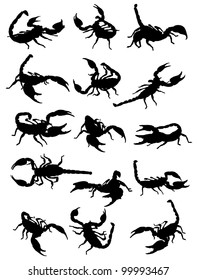 A collection of silhouettes of scorpions