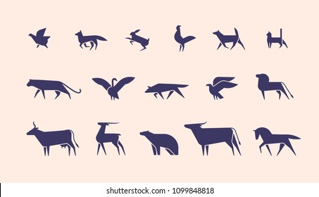 Collection of silhouettes or shapes of wild and domestic animals and birds isolated on light background, side view. Modern monochrome vector illustration for logotype in trendy geometric style