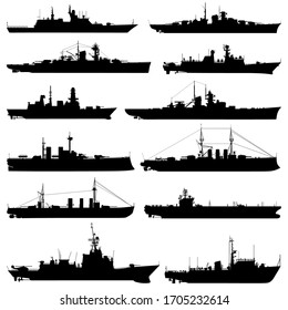 Collection silhouettes of ships. Vector illustration.