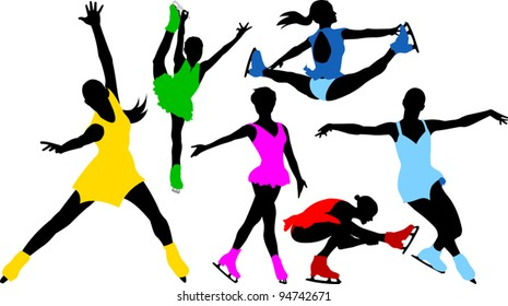 collection of silhouettes of skaters in colorful dresses (illustration);