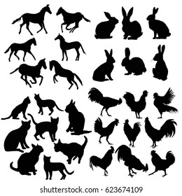 Collection of silhouettes, such as rooster, hen, rabbit, cat, set of vector icons.