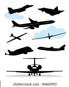 Collection of silhouettes of various planes