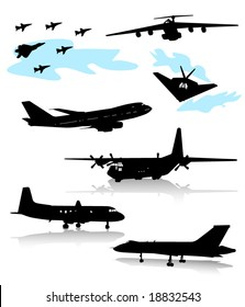 Collection of silhouettes of various planes. Part 2