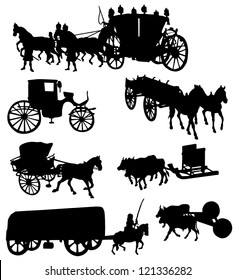 Collection of silhouettes of vintage carriages