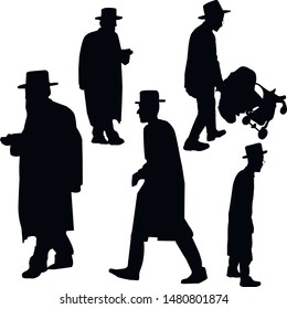 A collection of silhouettes of walking Jews. Jews in a hat. Religious Jews in a traditional costume. Hasid with sidelocks in a long frock coat. Isolated vector illustration. Black on white.