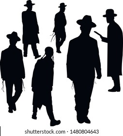 A collection of silhouettes of walking religious Jews. Jews in a hat. Religious Jews in a traditional costume. Hasid with sidelocks in a long frock coat. Isolated vector illustration. Black on white.