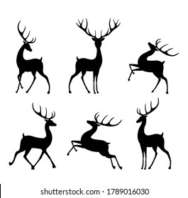 Collection of silhouettes of wild deers. Set of black silhouette of cartoon deer in different poses. Isolated on white background. EPS8
