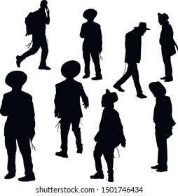 A collection of silhouettes of young Jews. Hasidim are religious Jews in traditional dress. Men in a hat. Jews in tzitzit and talit katan. Isolated vector illustration. Black on white.