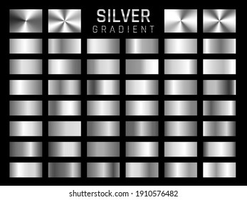 Collection of silver, chrome metallic gradient. Brilliant plates with silver effect. Vector illustration.