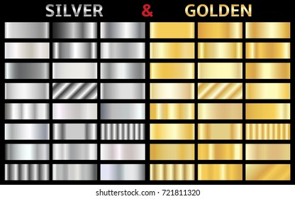 Collection of silver and golden gradient backgrounds. Set of gold and silver metallic textures. Vector illustration