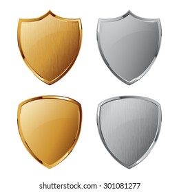 Collection of silver and golden shields with and without metal texture. Security symbol. You can remove and add texture quickly