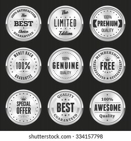 Collection of silver labels and badges