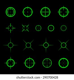Collection of simple flat vector targets isolated on black background. Different crosshair icons. Aiming mark templates. Shooting gun bullet sign design.