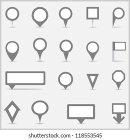 Collection of simple gray map markers, vector eps10 illustration
