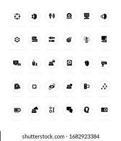 Collection simple icons of computer science on a white background with names. Modern black and white signs for websites, mobile apps, and concepts