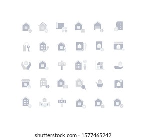 Collection simple icons of real estate on a white background. Modern gray shadows signs for websites, mobile apps, and concepts