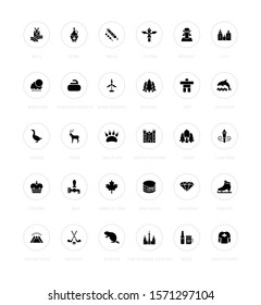 Collection simple icons of vancouver on a white background with names. Modern black and white signs for websites, mobile apps, and concepts