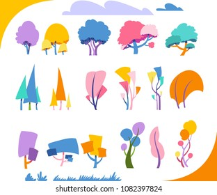 Collection of simple multicoloured  trees. Foliaceous and ephedra.