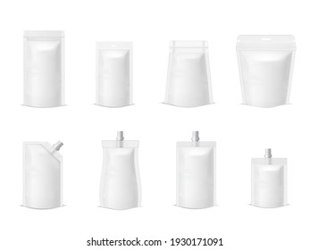 Collection simple plastic paper doy pack mock up packaging vector illustration. Set of package pouch packet bag sack with zip lock or cap system of storage keeping for food and drink isolated on white