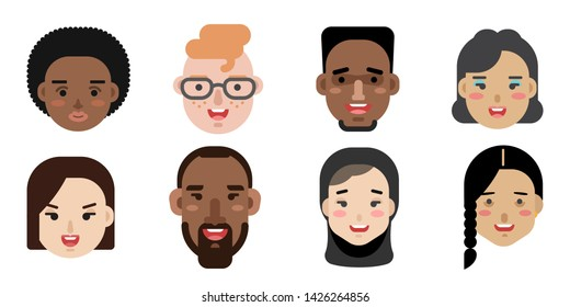 Collection of simple vector illustrations of multiracial and multicultural face avatars. People of different race and nationlities illustrated as characters