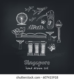 Collection of Singapore hand drawn icons Vector illustration