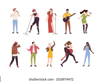 Collection of singers with microphones and musicians isolated on white background. Set of young men and women singing songs and playing guitar. Male and female cartoon characters. Vector illustration.