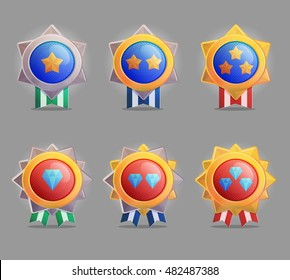 Collection of siny silver and golden star shape medal award badges with striped ribbons and stars. Award labels for games, applications, design decoration elements.